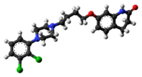 Ball-and-stick model of the aripiprazole molecule