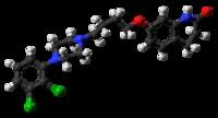 Modelo de bola y el palo de la molécula de aripiprazol
