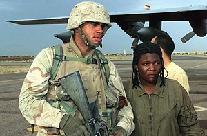 Shoshana Johnson - Army Spc. Shoshana Johnson returning to Kuwait City, Kuwait after her rescue, April 2003