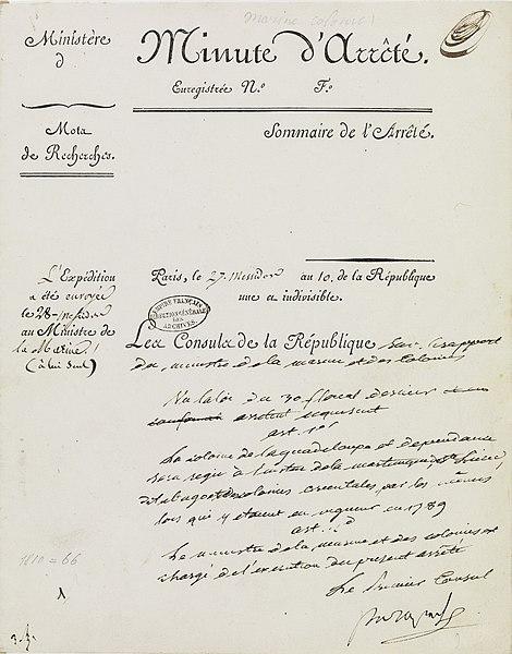 File:Arrêté consulaire du 27 messidor an X (16 juillet 1802), version manuscrite définitive.jpg