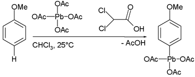 p-methoxyphenyllead triacetate synthesis
