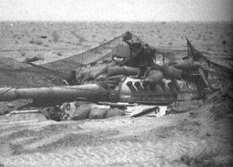 Battle of Norfolk - A dug-in Iraqi T-72 Asad Babil tank at the Battle of Norfolk, 26 February 1991