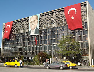 Atatürk Cultural Center - Front façade of Atatürk Cultural Center during May 19 celebrations.