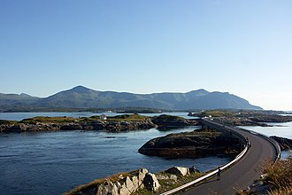 Atlantic Ocean Road - The Hulvågen Bridges looking towards the mainland