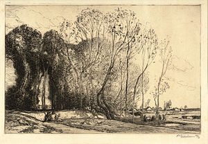 Auguste-Louis Lepère - Landscape with Two Figures, Dallas Museum of Art