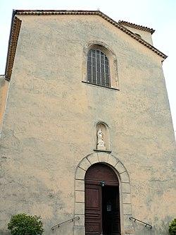 Auribeau-sur-Siagne - Vieux village - Façade de l'église.JPG