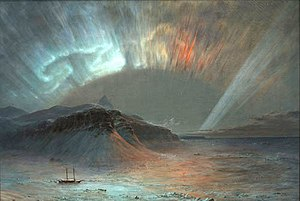 English: Aurora Borealis (1865), painted by Fr...