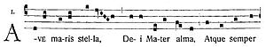 Ave Maris Stella - Beginning of Ave Maris Stella, in its ancient chant setting