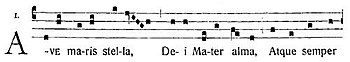 Gregorian chant notation of the a hymnus
