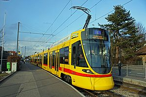 Baselland Transport - Newly delivered Stadler Tango Tram on a driver training run