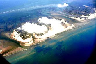 Chandeleur Sound - Oil slicks surround the Chandeleur Islands