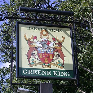 Worshipful Company of Bakers - A pub sign showing the coat of arms of the Worshipful Company of Bakers