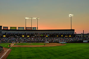Minor League Baseball - The third base stands of the Dell Diamond, home of the Round Rock Express.