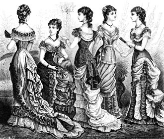 Corset controversy - Women in 1870s gowns wearing corsets