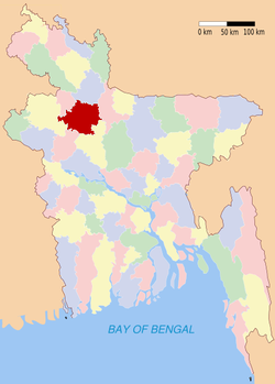 Location of Bogra in Bangladesh
