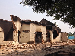 "Central African Republic Civil War (2012–2014) - A destroyed mosque after the ""Battle of Bangui""."