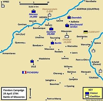 Battle of Mouscron - Battle of Mouscron, 29 April 1794, part of the Flanders Campaign