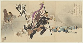 Battle of Yingkou - Colonel Sato attacking fortification at Niuzhuang, ukiyo-e print by Toshihide Migita dated April 1895