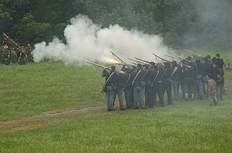 5th United States Colored Cavalry Regiment - Union re-enactors recreate the Battle of Saltville in Saltville, Virginia on August 20, 2006.