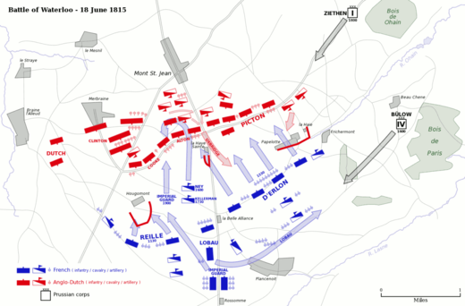 British (red) and French (blue) armies begin engagement of the decisive Battle of Waterloo, with Prussian forces (gray) arriving from the northeast
