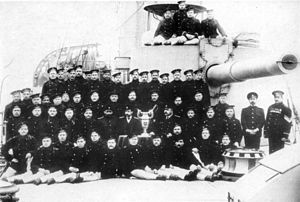 Bayan-class cruiser - Some of the crew of the second Bayan gathered around the forward eight-inch turret, 1911–18