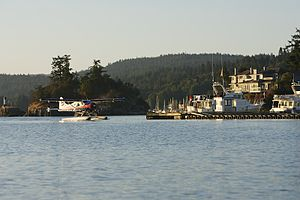 Ganges, British Columbia - A floatplane at the village of Ganges, Saltspring Island.
