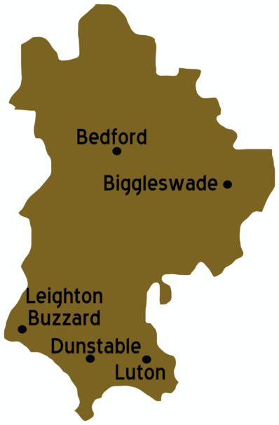 Map of Bedfordshire