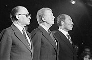 Celebrating the signing of the Camp David Accords (1978): Menachem Begin, Jimmy Carter, Anwar Sadat
