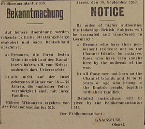 Deportations from the German-occupied Channel Islands - Bekanntmachung 1942 deportation Jersey