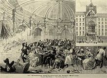 La explosión en el restaurante del Teatro Bellecour (grabado).