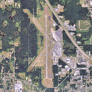 Bellingham International Airport - An aerial view of the Belligham International Airport.