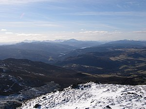 Perthshire - Ben Vrackie: View west to the Lawers range, Schiehallion, lochs Tummel and Rannoch, and very distant Glen Coe peaks