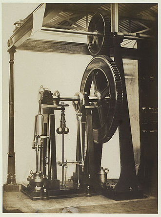 B. Hick and Sons - B. Hick and Son 6 hp steam engine, mill-gear and ornamental column at the Great Exhibition. Photograph 1851 by Claude-Marie Ferrier (1811–1889) from the Reports of the Juries.