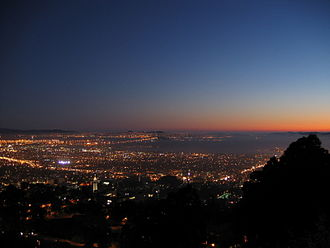 Alameda County, California - View of Berkeley and the San Francisco Bay at nightfall.