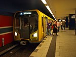 Berlin U-Bahn, station Osloer Straße, H-type train on U8 line.jpg