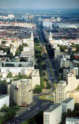 Karl-Marx-Allee - Aerial view of Karl-Marx-Allee with the twin towers of Frankfurter Tor visible in the back