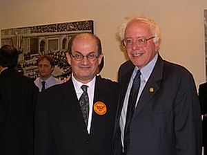 Political positions of Bernie Sanders - Sanders and Salman Rushdie in 2004 protesting section 215 of the USA Patriot Act.