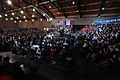 Bernie Sanders with supporters at a campaign rally at the Paul R. Knapp Learning Center in Des Moines, Iowa (23704752563).jpg