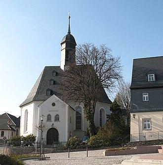 Bernsbach - Bernsbach's village square and church