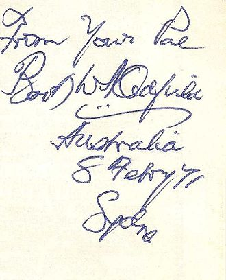 Bert Oldfield - Autograph written at Bert Oldfield's Sports Store in 243 Pitt Street, Sydney