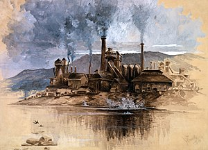 Bethlehem Steel - Bethlehem Steel Works, a watercolor by Joseph Pennell, depicting Bethlehem Iron Company in May 1881