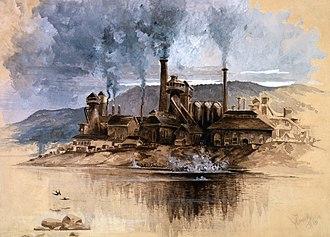 History of the steel industry (1850–1970) - Bethlehem steel works in Bethlehem, Pennsylvania, 1881
