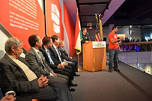 Liberty Science Center - Liberty Science Center CEO, Paul Hoffman, speedcuber Anthony Brooks, Budapest inventor Erno Rubik, NJ Lt. Gov. Kim Guadagno, US Senator Robert Menendez, and Hungarian President Janos Ader at the opening of the Beyond Rubik's Cube museum exhibition, April 25, 2014
