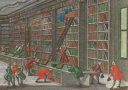 Szene aus dem Saal der Bibliotheca Buloviana. Detail aus einem handkolorierten Kupferstich von Georg Balthasar Probst, 1750. (Quelle: Wikimedia)