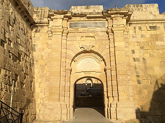 French occupation of Malta - The Main Gate of Birgu, which had its coats of arms defaced during the French occupation