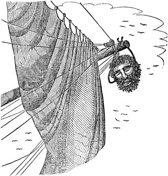 Blackbeard - Edward Teach's severed head hangs from Maynard's bowsprit, as pictured in Charles Elles's The Pirates Own Book (1837)