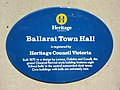 Blue plaque Ballarat Town Hall.jpg