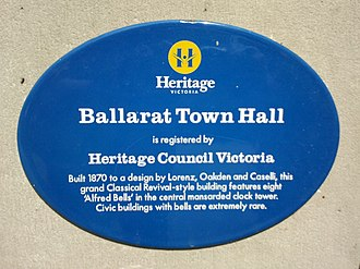 Heritage Victoria - A Heritage Victoria blue plaque on the Ballarat Town Hall