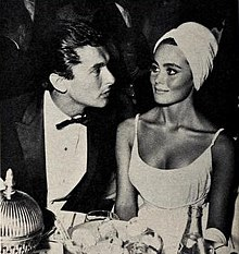 Sharon Hugueny with her first husband Robert Evans, 1961