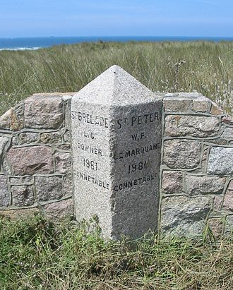 Saint Peter, Jersey - Boundary stone in St. Ouen's Bay between St. Brelade and St. Peter